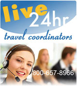 Live 24 hour travel coordinators 800-657-8966